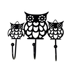 Black Metal Cut Out Owl Family Wall Hook Key Holder