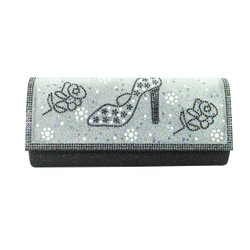 Stiletto and Roses Evening Clutch Black