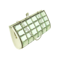 Rhinestone and Mirror Evening Clutch White