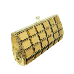 Rhinestone and Mirror Evening Clutch Gold