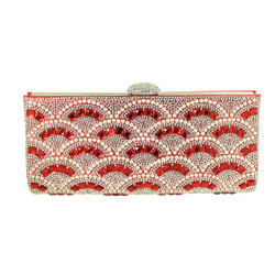 Rhinestone and Pearls Evening Clutch Red