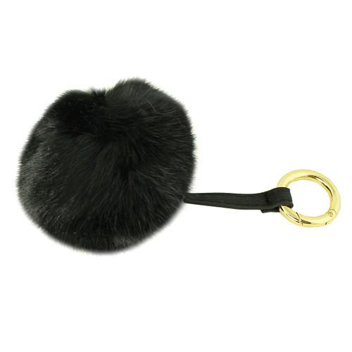 Soft Genuine Rabbit Fur Pom Pom Keychain Purse Charm Black