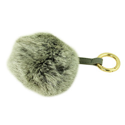 Soft Genuine Rabbit Fur Pom Pom Keychain Purse Charm Grey