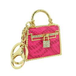 Designer Handbag Inspired Keychain Purse Charm Fuchsia