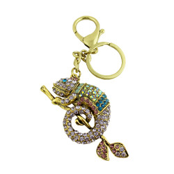 Cameleon Keychain Purse Charm with Crystals Purple