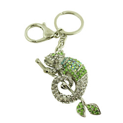 Cameleon Keychain Purse Charm with Crystals Green