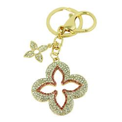 Crystal Flower Purse Charm Keychain Pink