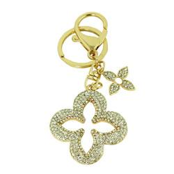 Crystal Flower Purse Charm Keychain Gold