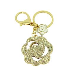 Crystal Rose Purse Charm Keychain Ivory