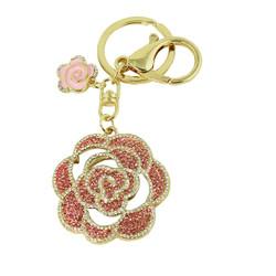 Crystal Rose Purse Charm Keychain Pink