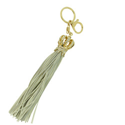 Royal Crown with Tassel Keychain Purse Charm Grey