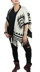 Aztec Open Front Fringed Poncho Ivory and Black