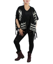 Aztec Open Front Fringed Poncho Black and Ivory
