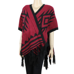 Aztec Open Front Fringed Poncho Black and Red
