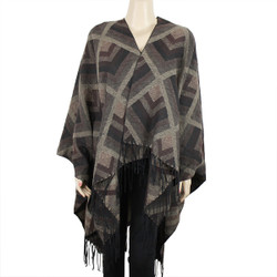 Tribal Arrows Open Front Fringed Ruana Wrap Brown and Beige