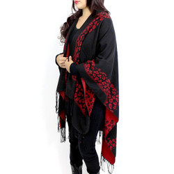 Leopard Print Two Tone Open Front Ruana Wrap Black and Red
