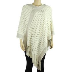 Streak of Brilliance Crocheted Poncho V-neck Ivory