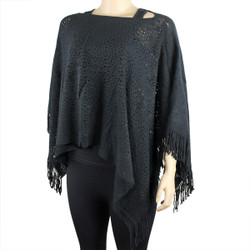 V-Neck Knitted Short Poncho Black
