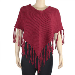 Half Poncho with Long Fringes Dark Red