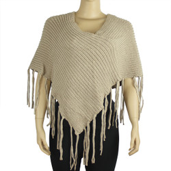 Half Poncho with Long Fringes Khaki