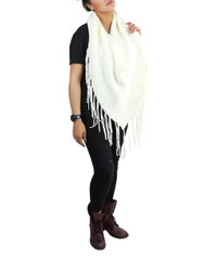 Half Poncho with Long Fringes White