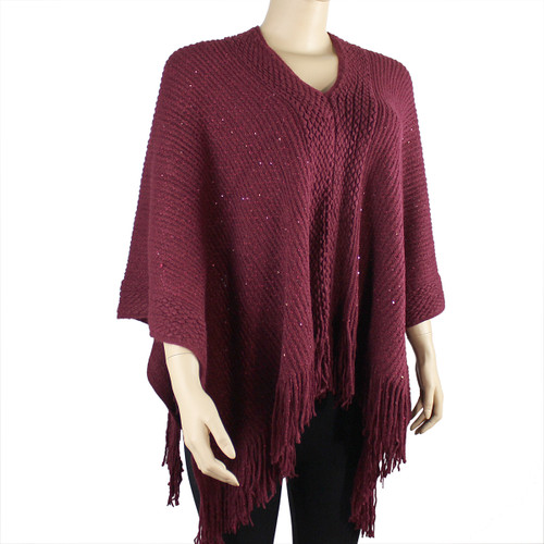 Bohemian V-Neck Sequined Tasseled Short Poncho Maroon