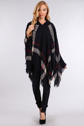 Hooded Plaid Poncho with Tassels Black and White