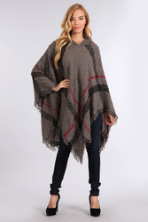 Hooded Plaid Poncho with Tassels Grey and Red