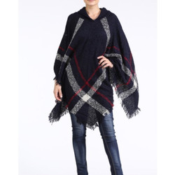 Hooded Plaid Poncho with Tassels Navy and Red