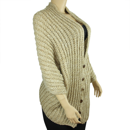 Multi-Use Oversized Scarf Wrap with Buttons Beige
