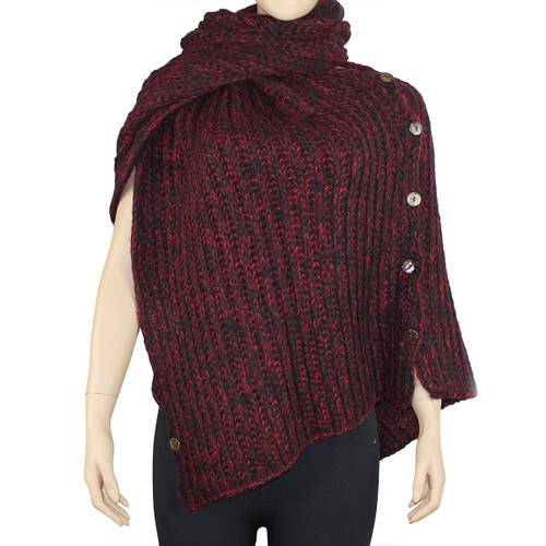 Multi-Use Oversized Scarf Wrap with Buttons Red and Black