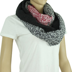 Soft Woven Plaid Infinity Scarf Black