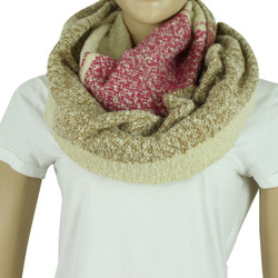Soft Woven Plaid Infinity Scarf Pink