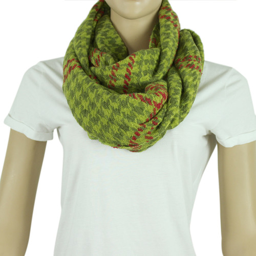 Two Toned Houndstooth Infinity Scarf Green and Red