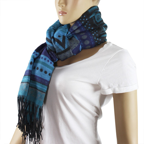 Aztec Scarf with Tassels Blue and Teal