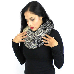 Color Block Knitted Infinity Scarf Blended Color Black and Ivory