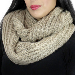Color Block Knitted Infinity Scarf Blended Color Khaki and Ivory