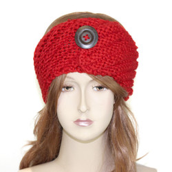 Woven Headband with Wooden Button Detail Red
