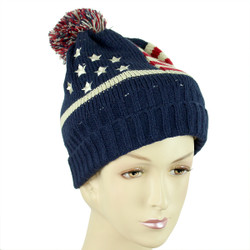 American Flag Knitted Beanie Pom Pom Hat (S-M)