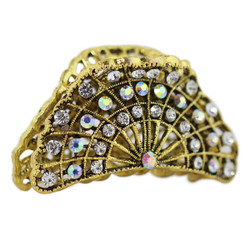 Rhinestone Fan Hair Claw Gold