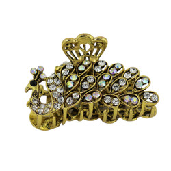 Rhinestone Peacock Hair Claw Gold