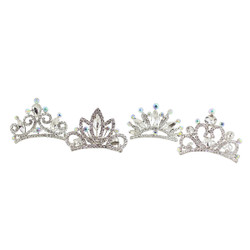 Assorted Rhinestone Tiara Combs Silver Set of 4