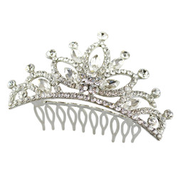Rhinestone Flower Tiara Comb Silver