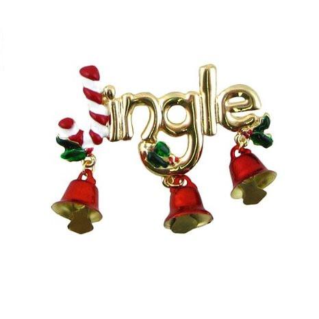 Jingle Bells Brooch Gold Tone
