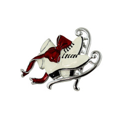 Classic Ice Skates with Red Flowing Ribbon Brooch Silver