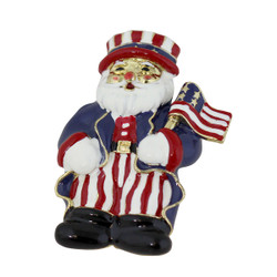 Patriotic Santa Clause Brooch