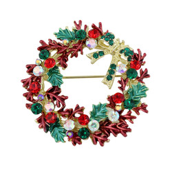 Crystal Holiday Wreath Brooch