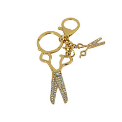 Rhinestone Scissors Cute Key Chain Gold