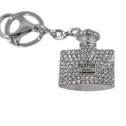 Fashionable Rhinestone Perfume Bottle Key Chain Silver