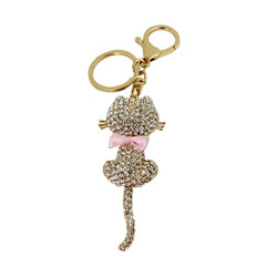 Rhinestone Cat Key Chain Gold